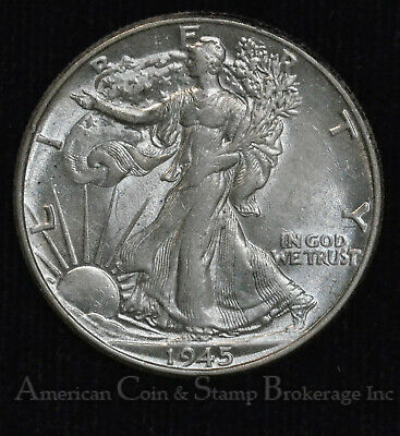 50c Cent 1/2 Half Dollar 1945 AU UNC WALKING LIBERTY SILVER MINT LUSTER SUPER