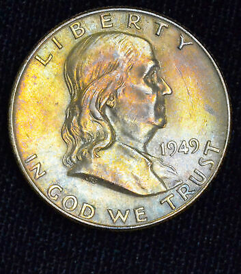 50c Cent 1/2 Half Dollar 1949 P UNC BU Franklin Silver Colorful Tone