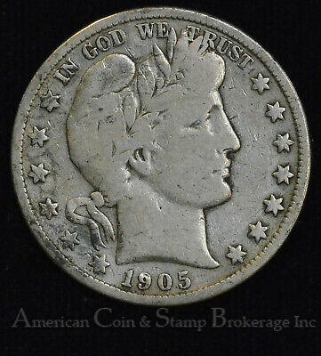 50c Cent 1/2 Half Dollar 1905 S VG F Barber Head Silver