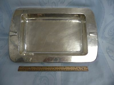 SIGNED DIRK VAN ERP HAND HAMMERED SILVER PLATE ARTS & CRAFTS TRAY w/BALL FEET