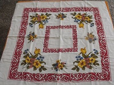 """Floral Tablecloth, Card Table Size 34"""" x 36"""", No Tags, EUC"""