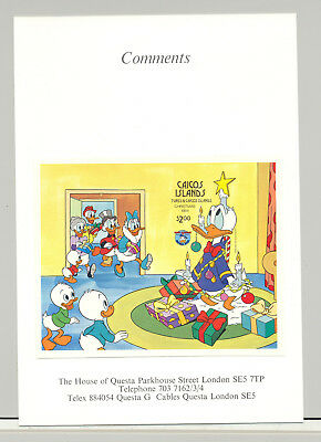 Caicos #59 Christmas, Disney 1v S/S Imperf Proof Mounted on Card
