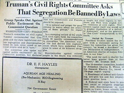 1949 newspaper PRESIDENT HARRY TRUMAN asks RACIAL SEGREGATION be BANNED by LAW