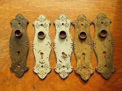 Five Antique Vintage Fancy Victorian Steel Passage Door Plates c1890 Unrestored