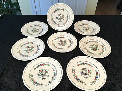 "Vintage Set of 8 WEDGWOOD ETRURIA AK7488 ""Plymouth"" 9"" FLORAL LUNCHEON PLATES"