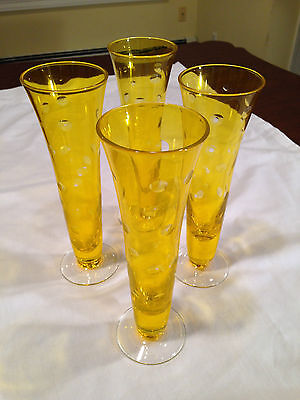 38624e669522 4 Vintage Mid-Century YELLOW/AMBER CUT TO CLEAR Tall Footed Cocktail GLASSES