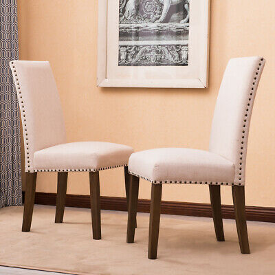 Set of (2) Modern Contemporary Elegant Linen Parson Dining Chairs (Gray / Beige)