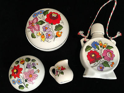 Lot of 5 Pieces KALOCSA HUNGARY Hand-Painted Porcelain Trinkets, Flask, Pitcher
