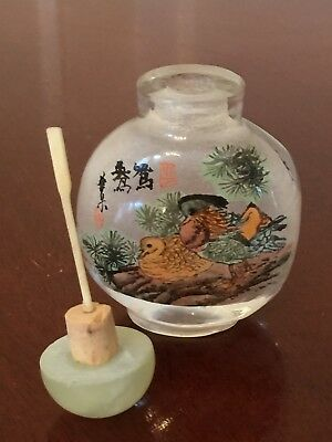 Vtg Unused Chinese Birds REVERSE-PAINTED GLASS SNUFF BOTTLE Jade Stopper & Spoon