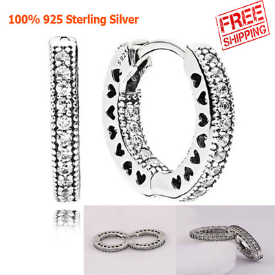 fab66b68d New Authentic Pandora Of Hearts Hoop Small Earrings 925 Silver Clear CZ  296317CZ