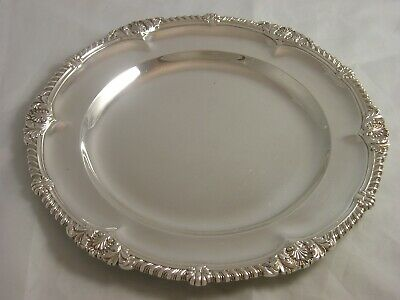 Superb 1893 Victoria Silver Dinner Plate Francis Higgins 637 grams Shell Gadroon