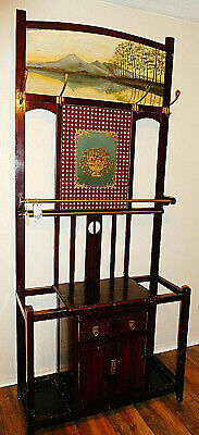 Asian Handpainted Hall Tree Stick Stand Oil Painting Reverse Glass Antique Wood