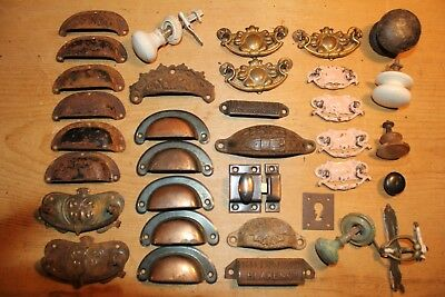 Antique Cup Handles~Knobs~Cast Iron~Pine Chest of Drawers~Job Lot~