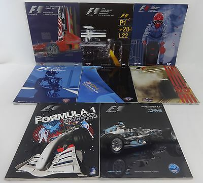 Formula-1 United States Grand Prix Set of All 8 Program F-1 Indy Ferrari McLaren