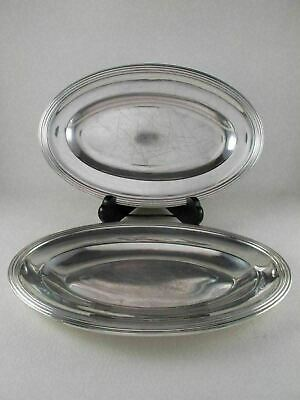 CHRISTOFLE Silverplate Metal Blanc Pair of Shallow Entree Dishes Platters c 1887