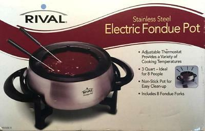 Rival ~ Stainless Steel ~ Electric Fondue Pot ~ 3 Quart ~ Non-Stick ~ 8 Forks