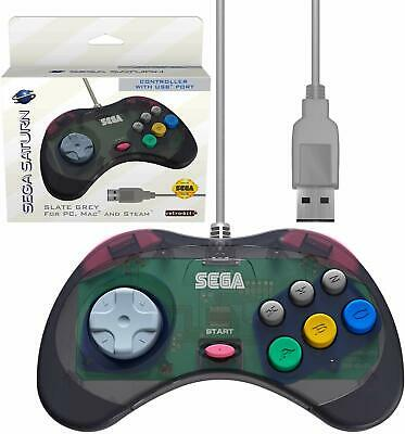 Retro-Bit Official Sega Saturn USB Controller Pad for PC/Mac/Steam/RetroPi Gray