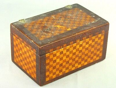 ! Antique Checkered Inlaid Marquetry Wood Jewelry Trinket Box