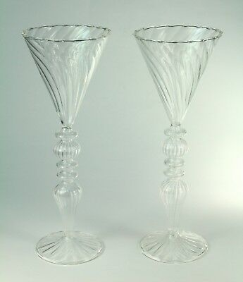 ! Pair of Antique Venetian Murano Swirled Blown Clear Glass Tall Cordial Glasses