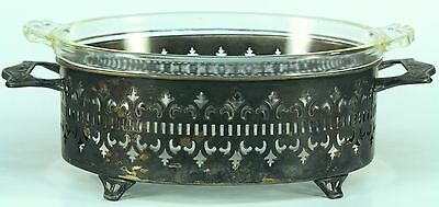 = Vintage 1926-1939 Early PYREX Glass & Silver Plate Casserole Bowl