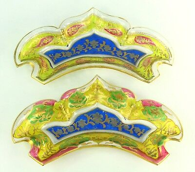 ! 1842-87 DAVIS COLLAMORE & CO. New York Pair of Enameled Glass Side Dishes Gilt