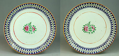 """*c.1820 Pair Chinese ORIENTAL LOWESTOFT Enameled Porcelain Lg Chargers, 13.75"""""""