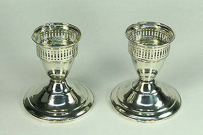 * c.1940-50's DUCHIN CREATION STERLING SILVER Pierced Pair Candle Holders Sticks