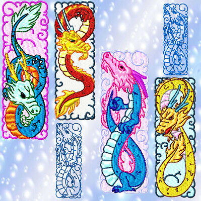 DYNAMIC DINO BOOKMARKS  30 MACHINE EMBROIDERY DESIGNS CD or USB