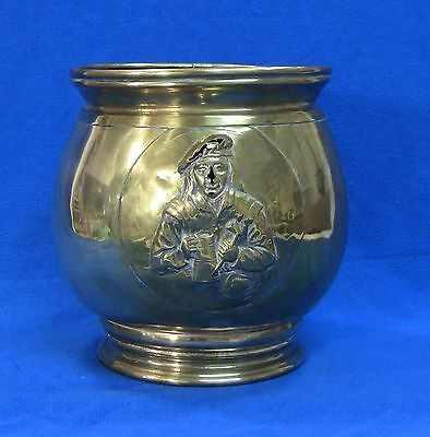 "+Antique 1600's Dutch Brass Large Tobacco Jar 8"" Embossed Pipe Smoker"