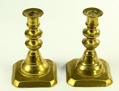 ! RARE Antique 1700's Bronze Pair of Miniature Candle Holders Candlesticks 3""