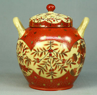 *Antique FINE Hand Painted Japanese Porcelain Tea Caddy Double Lidded Container