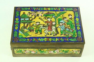 ! Antique Chinese Polychrome Enameled Brass Box, Wood Lined w. Children Scene