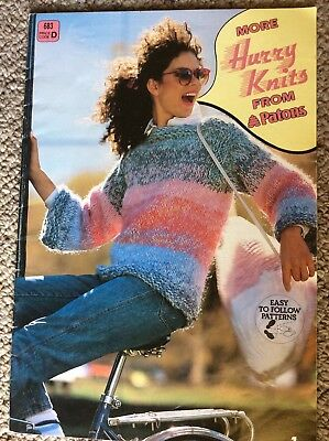 Vintage Patons Knitting Pattern Book 683 More Hurry Knits From Patons