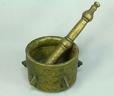 * EARLY Antique 1600's Ottoman Turkish Thick Bronze Mortar w. Pestle Set 7""