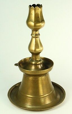 ! RARE 1580's Antique Ottoman Turkish Thick Bronze Tulip-Form Candlestick