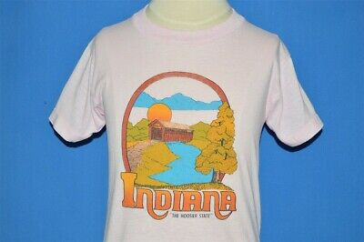 vintage 80s INDIANA THE HOOSIER STATE SUNSET PINK TOURIST t-shirt YOUTH SMALL S