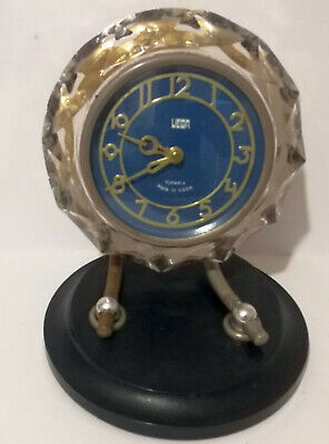 Vega Art Deco Mantle Clock 11 Jewells USSR made Glass And Bakelite For repair