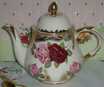 Vintage Art Deco Arthur Wood Pink & Red Roses With Gold Teapot