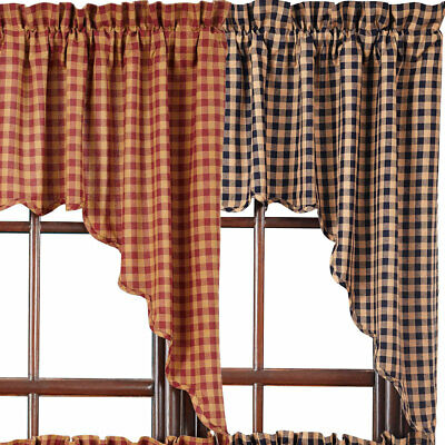 Check Scalloped Country Curtain Swags by VHC Brands Navy or Burgundy