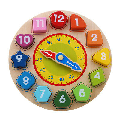 Wood Clock Jigsaw Block Puzzle Kids Montessori Time Learning Educational Toy FG