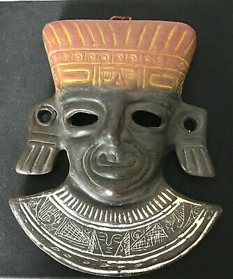 "Terracotta Mayan Inca Aztec Style Mask 9.5"" Tall x 7.5"" Wide x 2.5"" Deep Awesome"