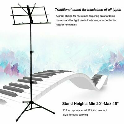 Adjustable Foldable Sheet Music Stand Holder Tripod Base Metal with carry bag US