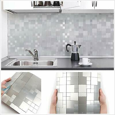 Awe Inspiring 5Pcs Metal Peel Stick Tiles Kitchen Backsplash Self Adhesive Aluminum Puzzle Beutiful Home Inspiration Truamahrainfo