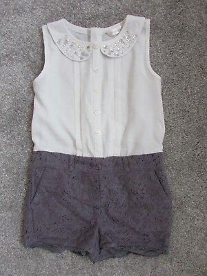 Matalan girls 5 years grey & white Summer Holiday shorts playsuit -Excellent con
