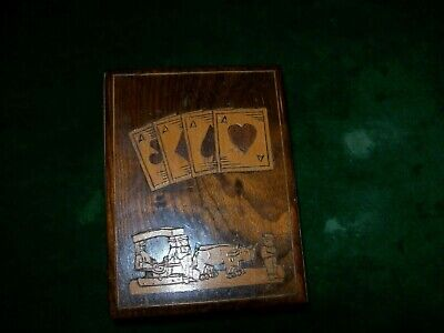 Vintage/Antique Marquetry Work Wooden  Playing Card Box with 2 x packs of Cards