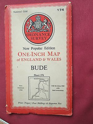 "Ordnance Survey 1"" map New Popular edition Sheet 174  Bude  1946"