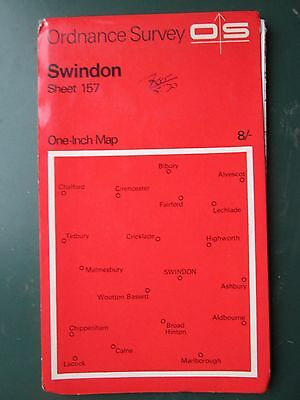 Ordnance Survey Map One Inch  Sheet 157 Swindon 1986  Red cover