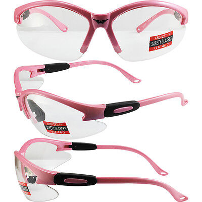 24985a42b39a Cougar Pastel Medium Pink Frame Clear Lens Womens Safety Glasses Motorcycle  Z87+