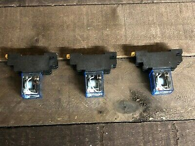 Set of (3) Omron LY2N-J Cube Relay 12VDC Coil w/ PTF08A Socket Base NEW
