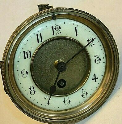 Antique, Brass French Clock Movement For Spares or Repair, with beveled Glass.